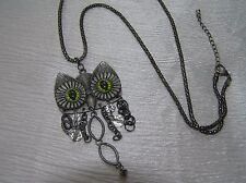 Chain with Large Dangly Owl Pendant Estate Long Oxidized Silvertone Tubular Mesh