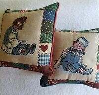 Raggedy Ann & Andy Country Christmas 12x12 Tapestry Throw Pillow Pair Red Green
