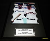 Willie Mays & Hank Aaron Framed 11x14 Photo Display Giants Braves
