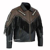 Leather Fringed Tassel Fringe Classic Diamond Motorcycle Biker Style Jacket