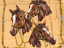Vintage Horse Themed Scarf Three Brown Horse Heads Equestrian Large Scarf VGC