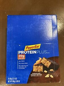 1 Boxes of 15 PowerBar Protein Plus Peanut Butter Chocolate Bars Best By 7/07/21