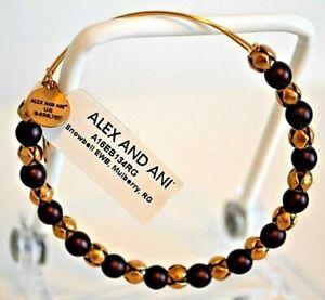 Alex and Ani Bracelet Purple Mulberry Beaded Charms Rafaelian Gold Bangle New