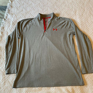 Under Armour HeatGear Gray Loose 1/4 Zip Active Performance Pullover Mens L