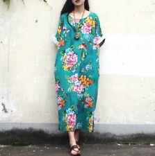 ❤️Womens plus size 5x FITS LIKE XL Pink floral Cotton maxi dress Jade Green NWT