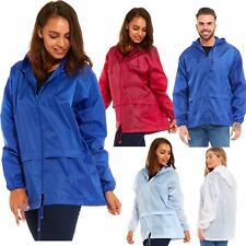 Womens Pac A Way Lightweight Rain Kahoul Mac Hooded Zipper Plain Jacket
