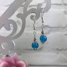 SILVER Turquoise Blue EARRINGS Drop Dangle Hook CRACKLE Bead Victorian VINTAGE