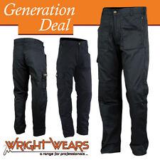 Men Work Cargo Trouser Black Multi Pockets Polycotton 245gsm W:34 - L:31