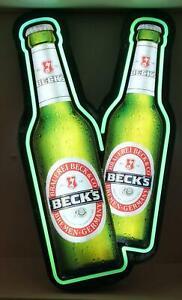 Becks Bier Leuchtreklame, 2er Bieflaschenoptik , Bar, Deko, Lampe, Bier