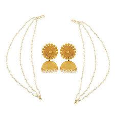 Indian Ethnic Bollywood Polki Gold Tone Jhumka Jhumki Kaan Chain Earring jewelry