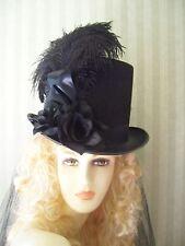 Black Steampunk Top Hat Kentucky Derby Hat Civil War Halloween Hat Victorian Hat