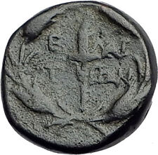 ELAIA in AEOLIS 2-1CentBC Authentic Ancient Greek Coin DEMETER & TORCH  i62803