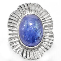 Handcrafted Natural Tanzanite Cab Tanzania 925 Silver Ring s.6.5 Jewelry 9259