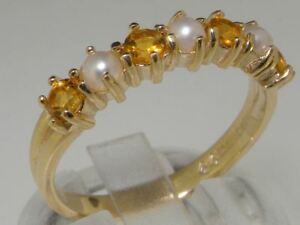 Solid 14ct Gold Natural Citrine & Pearl Eternity Anniversary Ladies Ring