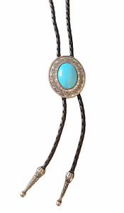 """Western Turquoise Bolo Tie - Wedding Leather 40"""" Cowboy Necklace"""