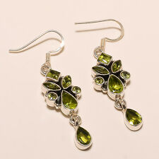 7.30Gram. 925 SOLID STERLING SILVER EARRINGS NATURAL FINE FACETED PERIDOT GEMS