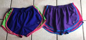 Lot of 2 WOMENS NIKE DRI-FIT Running Shorts SZ LARGE MULTI COLOR