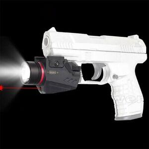 Tactical LED Flashlight Green / Red Laser Sight For 20mm Rail Mini Glock Pistol