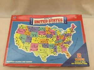 Vintage 1988 Milton Bradley Puzzle Map of United States & World Complete MB