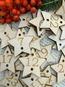 advent calendar set of 25 number buttons 4cm stars  reusable tags natural wood