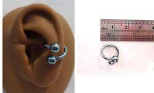 Blue Titanium Plated Twist Wrap Conch Ring Hoop Balls 14 gauge 14g