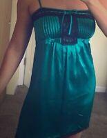 Betsy Johnson Womens Size 6 Small Green Black Slip Dress Silk Lace Trim 90s Mini
