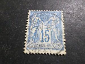 FRANCE timbre CLASSIQUE 15 c. bleu, Sage, oblitéré, CACHET ROND cancel STAMP 03B