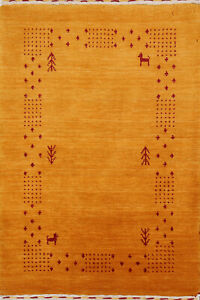BORDERED Gabbeh Modern Oriental Area Rug Hand-knotted Wool Foyer Carpet 2x3 ft