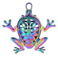 2PC Fancy Frog Necklace Charm Pearl Beads Cage Pendant Essential Oil Diffuser