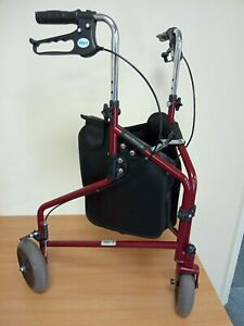 L6408 Days Mobility Aid Three Wheel Walker With Shopper Bag & brakes - Burgundy