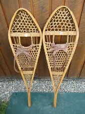 "NICE Pair SNOWSHOES 41"" Long x 12"" Wide GROS LOUIS Leather Bindings READY TO USE"