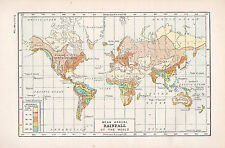 1947 DOUBLE-SIDED PRINT ~ WORLD MAP MEAN ANNUAL RAINFALL ~ RAILWAY ENGINEERING