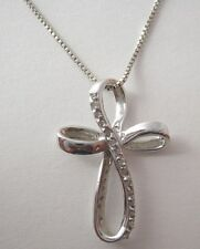 Sterling Silver Cross with Genuine Diamonds and Necklace