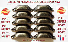 POIGNEE COQUILLE FER PAR 10 TIROIR MEUBLE DECORATION CASIER METIER  98*34MM