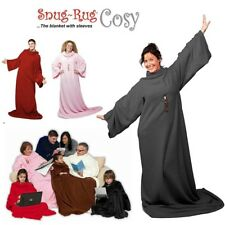 Genuine Snug Rug ™ COSY Adults Cosy Warm SLEEVED Arms Blanket Fleece Official UK