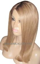 "Human Hair Blend Wig Glueless Front Lace 16"" Long Dark Blonde 27 Brown 4 Roots"