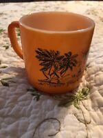 VIntage Anchor Hocking Federal Orange Your Florida Coffee Break Glass Mug Cup