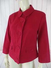 Talbots Stretch Blazer Coat 10 Red Textured Cotton Spandex Button Front Retro