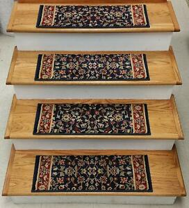 """Navy/Red Stair Tread Set of 7 Traditional Non Slip Treads 26"""" x 9"""" Rug Depot"""
