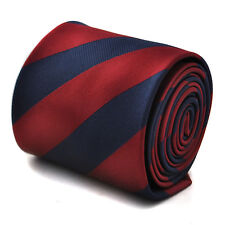 Frederick Thomas maroon and navy barber striped tie FT1684