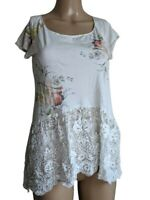 Johnny Was 4 Love And Liberty Womens White Floral Silk & Sheer Lace Top Size XS