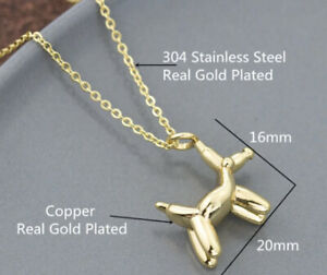 Dog Balloon Animal GOLD Plated Necklace Canine Breed Pet Love Animal Carnival