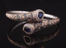 Turkish Handmade Sapphire Sterling Silver 925K Bracelet Bangle Cuff