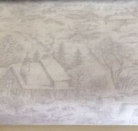 Forest Frost Glitter Favorites House Scene Fabric by Moda, Sld By 1/2 Yd