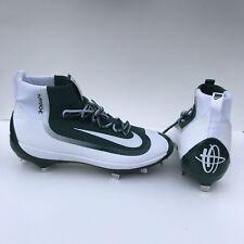 Men's Nike Huarache 2K Filth Elite Mid Metal Baseball Cleats Green White 11.5