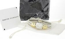 DAVID YURMAN Sterling 18k Gold Mother of Pearl Dial Cable Bangle Bracelet Watch