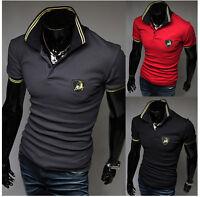 Casual Polo Shirts Mens Stylish Casual Slim Fit Short Sleeve T-shirts Tee Shirt
