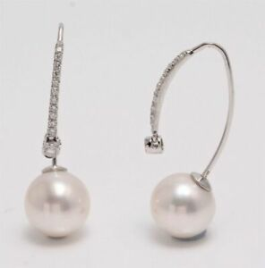 Lustrous Freshwater Pearls Crafted in 18K White Gold and 0.18ct VS Diamonds