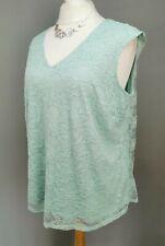 PLUS SIZE 22/24 Ladies ANN HARVEY aqua lace overlay sleeveless top RRP £45 R157#