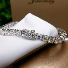 1CT Round-Cut D/VVS1 Diamond 14k White Gold Over Tennis Stunning Bracelet